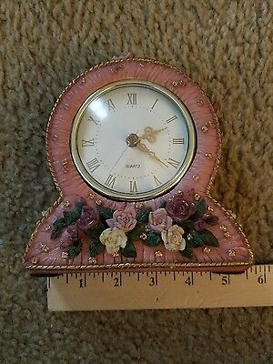 Pink Desk Clock -Tufted look with roses
