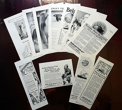 1923-1931 RED STAR LINE / WHITE STAR LINE - Lot of 11 vintage AD USS Majestic