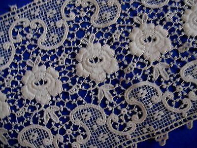 Wonderfully Detailed Antique Chemical Lace Fragment French Doll Clothes Trim