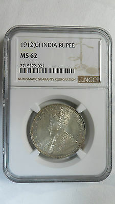 British India 1 Rupee, 1912 C, NGC MS 62