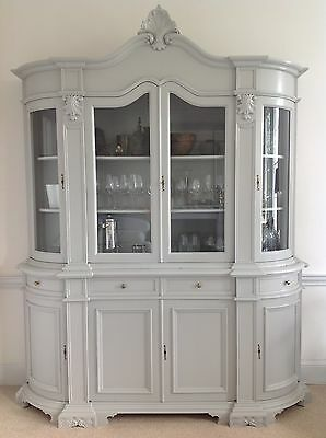 Stunning Armoire Glass Cabinet & Wood Sideboard - newly restored in custom grey