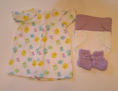 Bitty Baby 2 Diapers, Knit Booties, Long Gown - Duckie