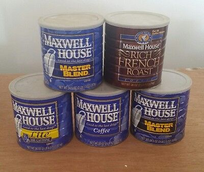 Vintage Metal 2 Lb Coffee Cans Maxwell House Crafts Storage Garage Containers