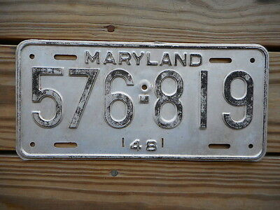 1948 Maryland License Plate:tag Number 576 819 Classic Md