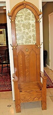 Antique Oak Hall Tree with Lift Up Storage Seat