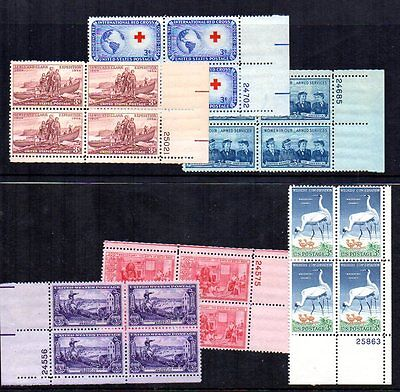 US 6 x 1950's Plate Blocks MNH sg1000, 1001, 1010, 1011, 1065 and 1100