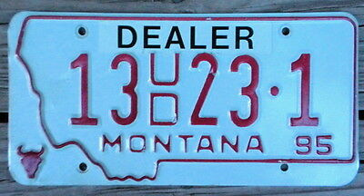 1995 Montana License Plate:tag Number 13 Ud 23 1 Classic Mt Dealer