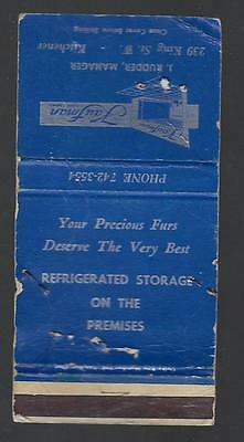 Vintage Kaufman Furs Limited 239 King St. W.  Kitchener Matchcover