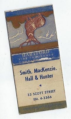Vintage Hartford Fire Insurance Co Smith Mckenzie Hall & Hunter  Matchcover