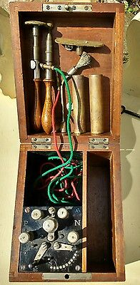 Vintage Quack medicine,Electric Shock Therapy machine in wooden box