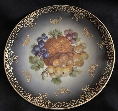 Mitterteich Bavaria Salad/Luncheon Fruit Motif Plate Pineapple & Grapes  7 1/2""