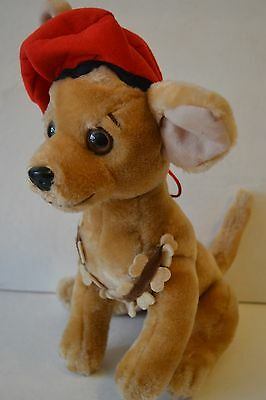"Chihuahua Dog Stuffed Plush Red Beret Armed With Dog Bones 11"" Nanco 1999"
