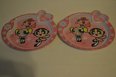 Powerpuff Girls Set of 2 Sectioned Plates Dinner Plate Melamine Pink Flowers