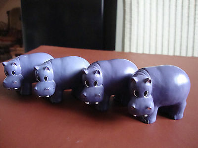 Set 4 Hippo Drawer / cupboard knobs