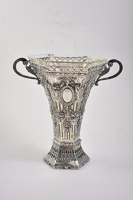 Antique German 800 Silver Vase With Glass Insert