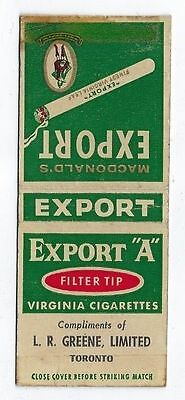 """Vintage Export """"a""""  L.r Greene Limited Toronto Ontario Matchcover"""