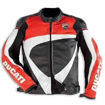 Ducati CORSE Red / BLACK / WHITE Leather Motorcycle Jacket
