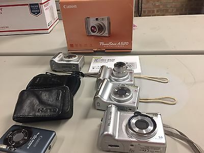 Bundle of 6 Canon PowerShot Cameras, all untested/ SW