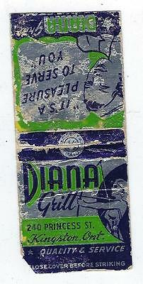 Vintage Art Deco  Diana Grill  Restaurant Kingston   Ontario Matchcover