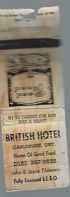 Vintage British Hotel Carlsruhe  Ont. Matchcover  Famour Ribs &  Kraut