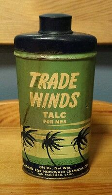 VTG NOS Trade Winds Talc for Men 3.5 oz Hockwald Chemical Co. San Francisco, CA