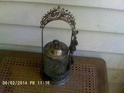 Victorian Silver Plate Pickle Castor From West Silver Co. W/ Cow Hallmark