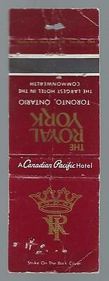 Vintage Royal York  Canadadian Pacific Hotel Toronto Ont.  Matchcover