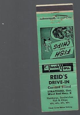Vintage Reids Drive In Custard Stand Stratford Ont. West End Hwy 8 Matchcover