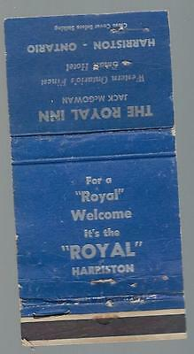 Vintage The Royal Inn  Harriston  Ont. Matchcover       Royal Welcome