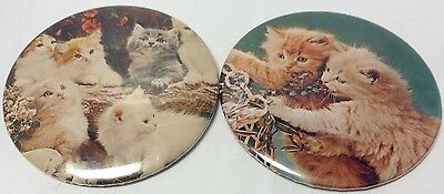 "2 X Vintage 3"" Button Pinback CUTE LITTLE KITTENS~  2 Anciens Macarons CHATONS"