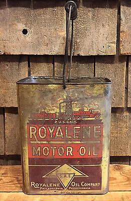 RARE Vintage ROYALENE Oil Co. Motor Oil 2 Gallon Gas Station Can GREAT GRAPHICS