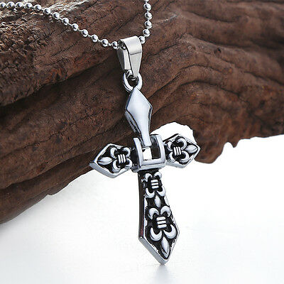 Men Silver Fashion Unisex Stainless Steel Cross Pendant Necklace Chain Gift NEW