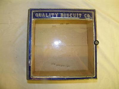 1924 Russakov Can Co. Antique Metal & Glass Hinged Biscuit Box