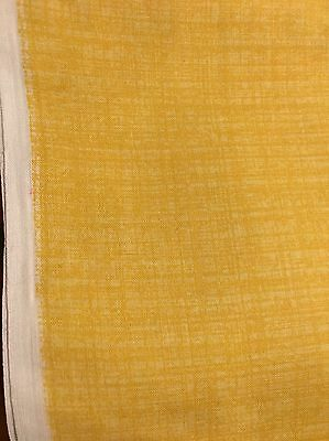 """3 1/3 Yrds X 44"""" Vintage Distressed Yellow Cotton Linen Blend Med Weight Fabric"""