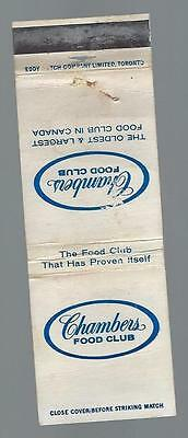 Vintage  Chambers Food Club   5 Plants Across Ontario Matchcover