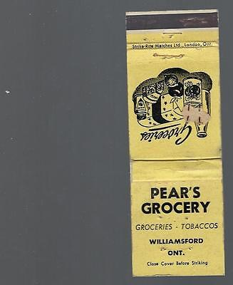 Vintage  Pears Grocery  Groceries - Tobacco Williamsford    Ont . Matchcover
