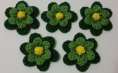 Set of 5 Crochet Flowers - Crafts - Embellishments