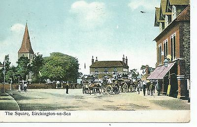 Printed postcard of the square Birchington on sea Kent in good condition