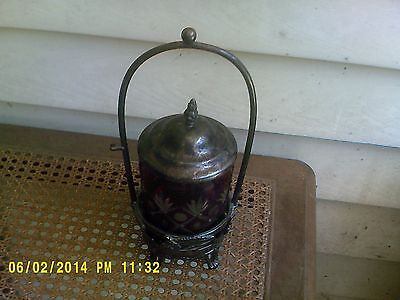 Victorian Silver Plate Pickle Castor From Reed And Barton W/ Bohemian Glass