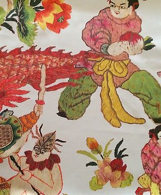 HINES Wind Pagode Chinoiserie Floral Pink Green Printed Cotton Remnant New