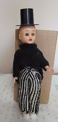 Celluloid Boy Doll Dressed in Black Crochet Knit Tails, Pants and Black Top Hat