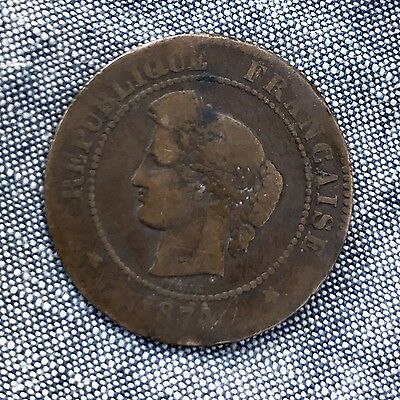 1874 French 5 Centimes Coin