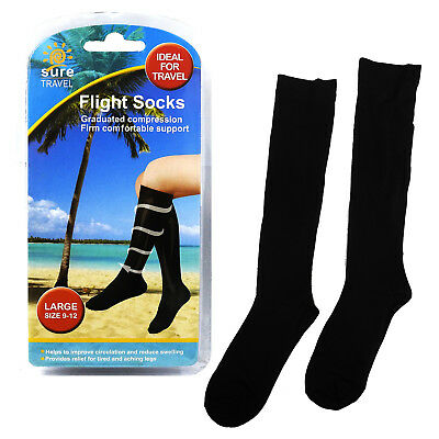 Sure Travel Unisex Mens Womens Compression Flight Socks, Large UK size 9 - 12
