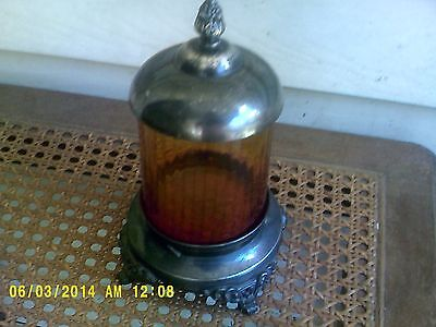 Victorian Silver Plate Pickle Castor From Meriden  W/ Amberlina  Glass