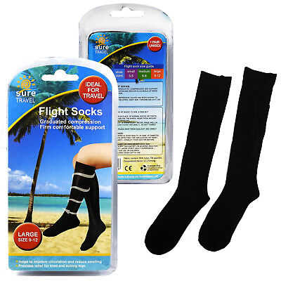 Sure Travel Unisex Universal Mens Womens Compression Flight Socks Multiple Sizes