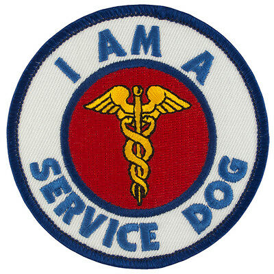 "I AM A SERVICE DOG Sew-On SD-007 Embroidered Patch 3"" Dia. - FREE SHIPPING!"