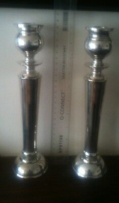 Pair of White Metal Candle Sticks