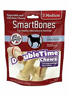 Smartbones Doubletime Bones Chicken Dog Chew, Medium, 3 Pieces/Pack