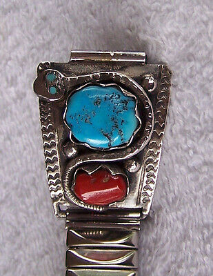 Vint Mens Signed Zuni Effie C. Watch Band Sterling Turquoise & Coral Snake Band