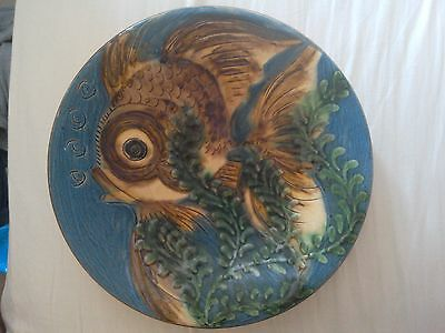Vintage Ceramic Angel Fish  Majolica  Pottery Signed Plate